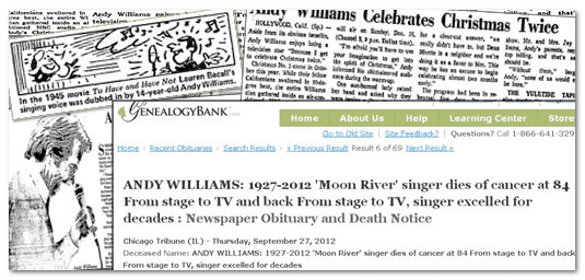 collage of newspaper articles about the life and death of singer and entertainer Andy Williams