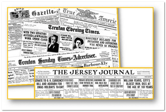 collage of New Jersey newspapers available in GenealogyBank's online historical newspaper archives