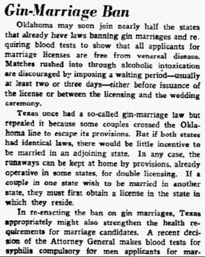 Gin-Marriage Ban, Dallas Morning News newspaper article 30 January 1939