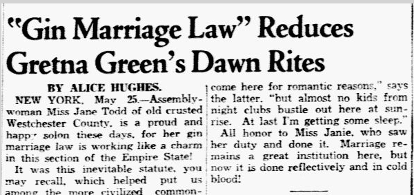 Gin Marriage Law Reduces Gretna Green's Dawn Rites, Dallas Morning News newspaper article 26 May 1938