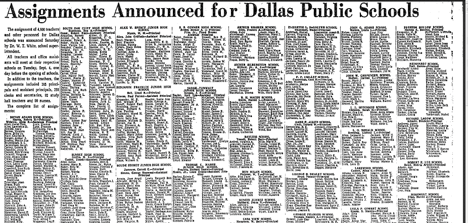Assignments Announced for Dallas Public Schools, Dallas Morning News newspaper article 5 August 1962