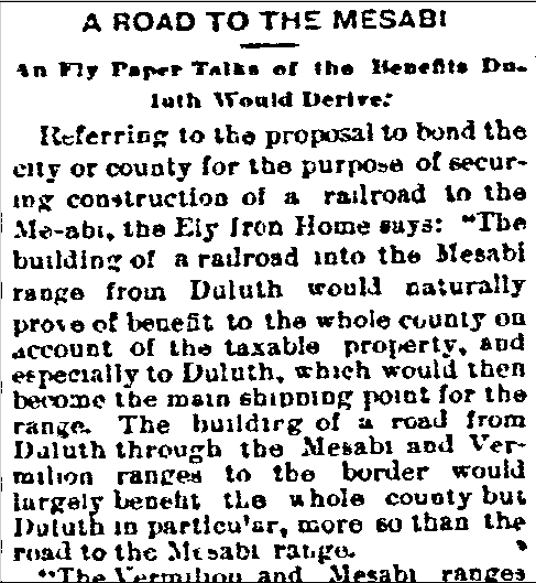 A Road to the Mesabi, Duluth News-Tribune newspaper article 6 June 1891