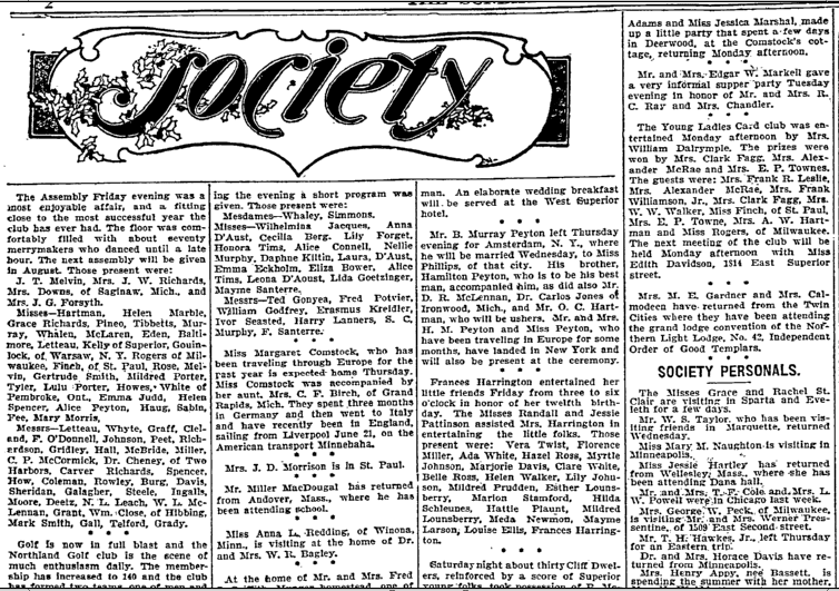 Society, Duluth News-Tribune newspaper article 29 June 1902