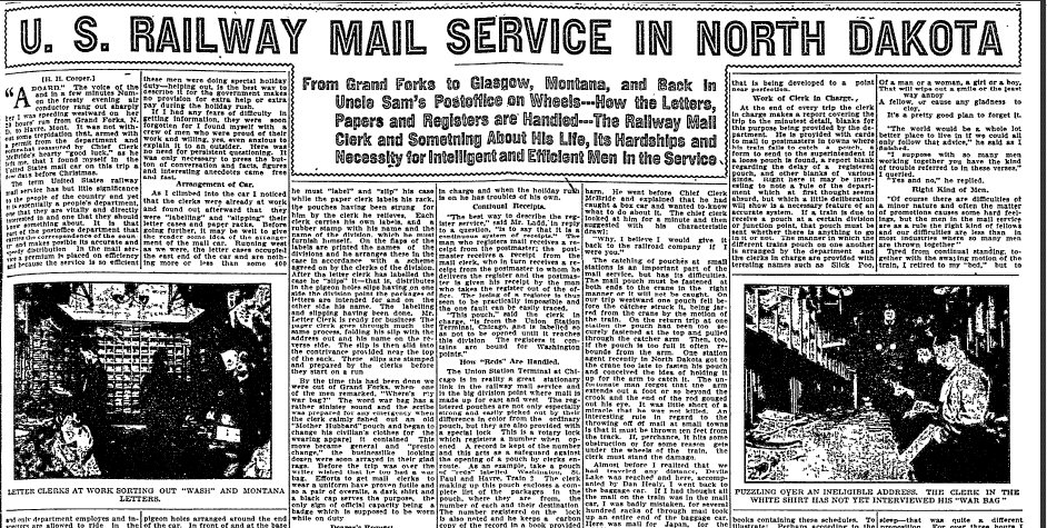 U.S. Railway Mail Service in North Dakota, Grand Forks Herald newspaper article 24 January 1909