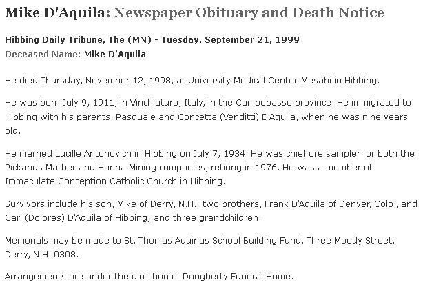 Mike D'Aquila Newspaper Obituary, Hibbing Daily Tribune newspaper article, 21 September 1999