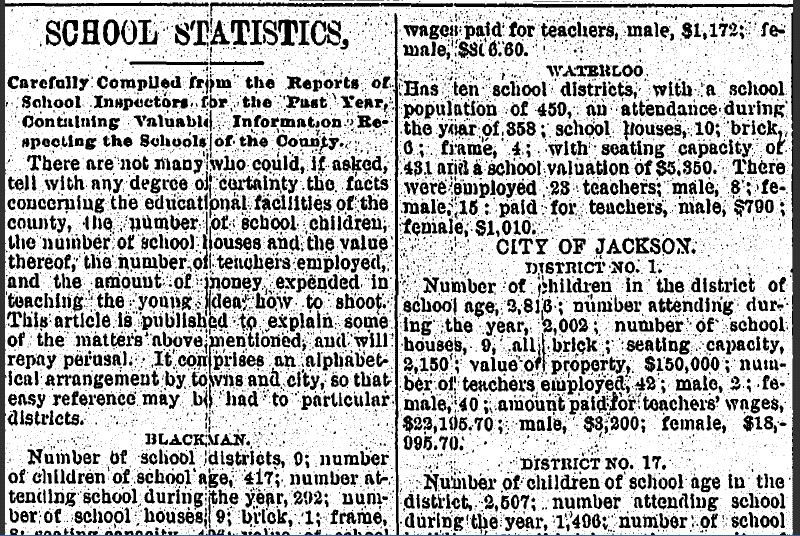 School Statistics, Jackson Citizen newspaper article 1 January 1889