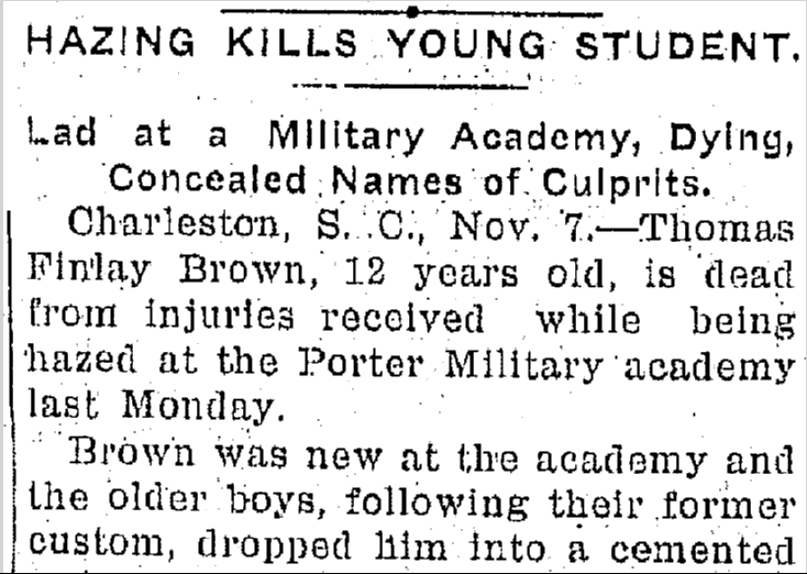 Hazing Kills Young Student, Jackson Citizen Patriot newspaper article 7 November 1900