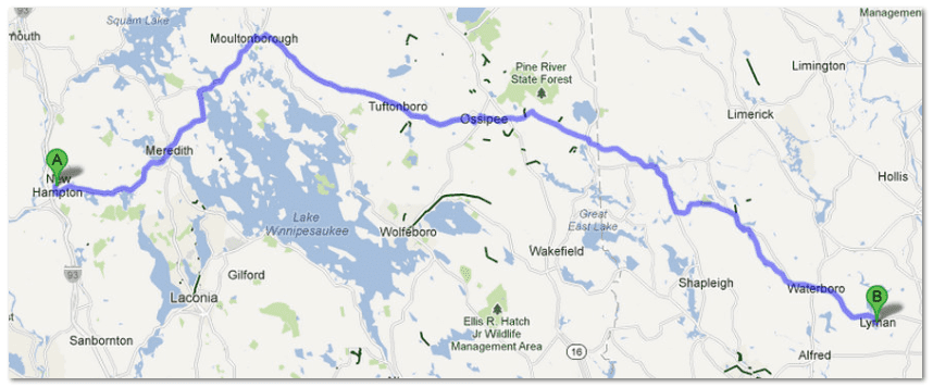 map showing distance between New Hampton, New Hampshire, and Lyman, Maine