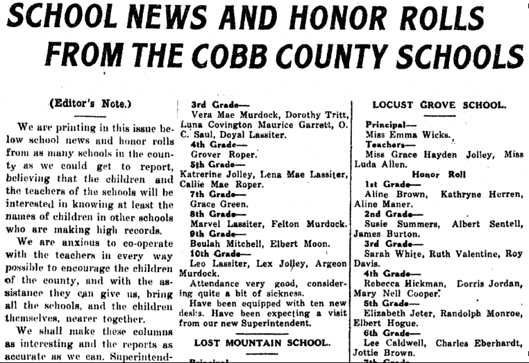 School News and Honor Rolls from the Cobb County Schools, Marietta Journal newspaper article, 25 February 1921