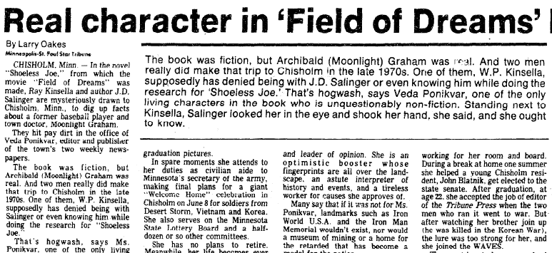 Real Character in 'Field of Dreams' Has Point of View, Marietta Journal newspaper article, 1 June 1991