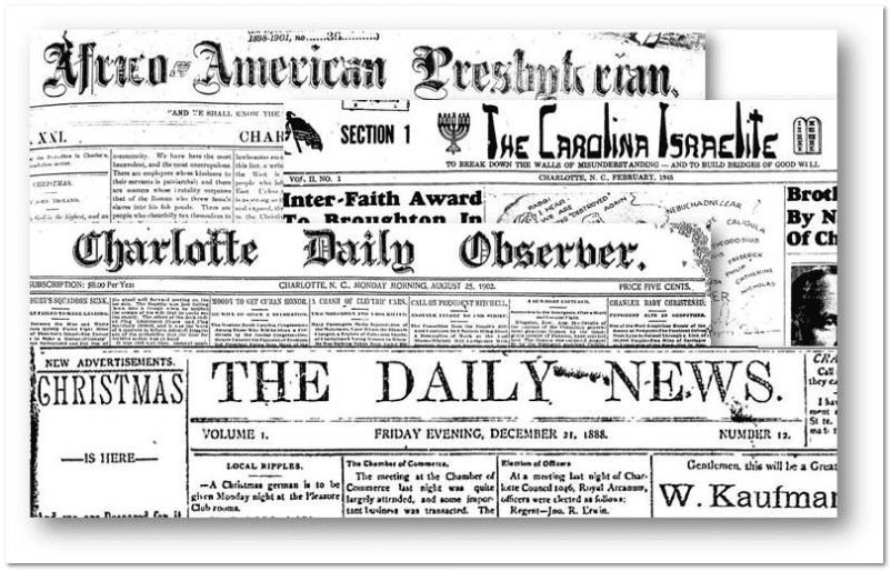 collage of newspapers from Charlotte, North Carolina