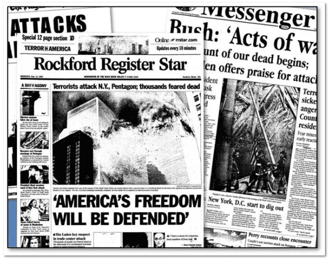 collage of newspaper front pages after 11 September 2001 terrorist attacks on the U.S.