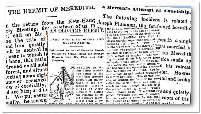 collage of newspaper articles about New Hampshire hermit Joseph Plummer