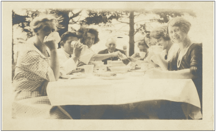 photo of the author's grandmother and family having a picnic at Euclid Beach Park in Cleveland, Ohio