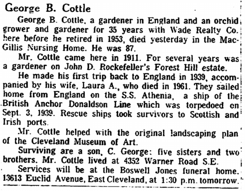 obituary for George B. Cottle, Plain Dealer newspaper article 27 January 1966