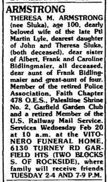 obituary for Theresa Sluka Armstrong, Plain Dealer newspaper 19 February 1991
