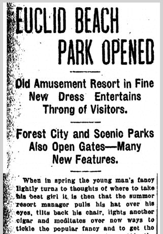 Euclid Beach Park Opened, Plain Dealer newspaper article 28 May 1905