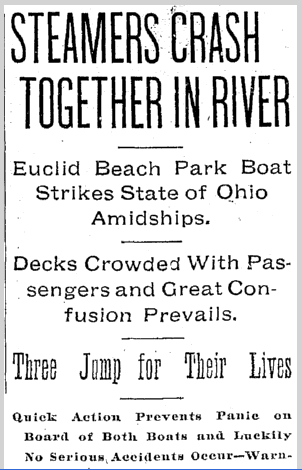 Steamers Crash Together in River, Plain Dealer newspaper article 17 June 1901
