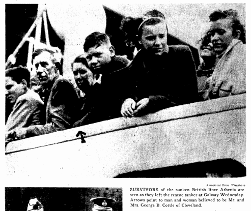 photo of George and Laura Cottle being rescued after the sinking of the Athenia, Plain Dealer newspaper article 11 September 1939