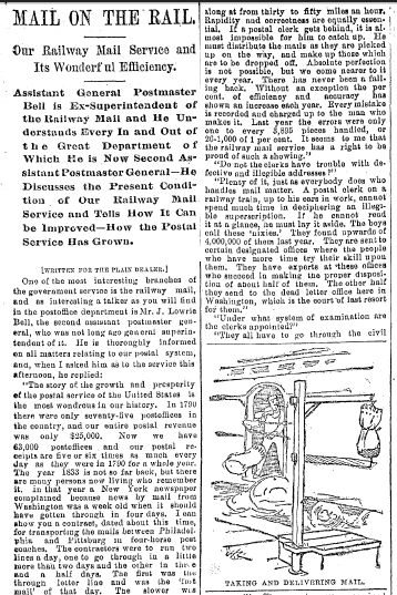 Mail on the Rail, Plain Dealer newspaper article 25 October 1891