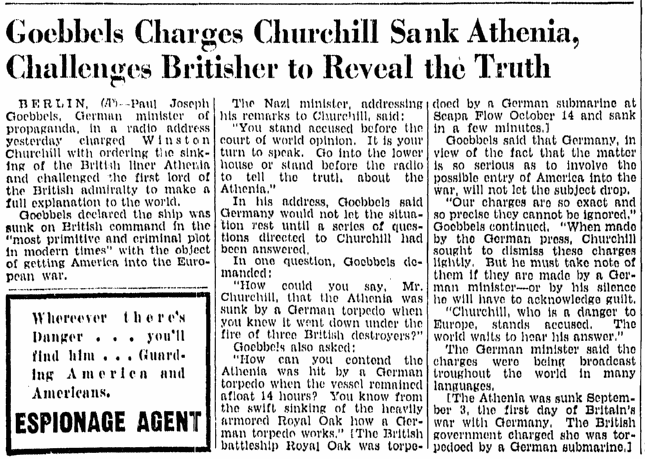 Goebbels Charges Churchill Sank Athenia, Challenges Britisher to Reveal the Truth, Richmond Times Dispatch newspaper article 23 October 1939