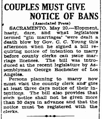 Couples Must Give Notice of Bans, San Diego Union newspaper article 21 May 1927