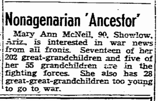 "Nonagenarian 'Ancestor,"" San Diego Union newspaper article 4 June 1944"