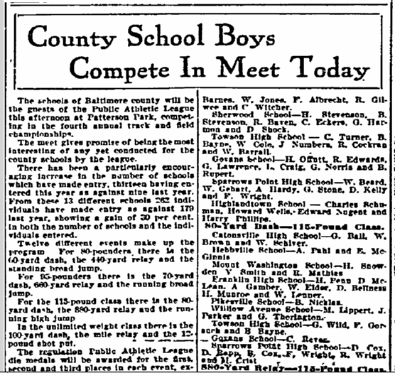 County School Boys Compete in Meet Today, Sun newspaper article 14 June 1913
