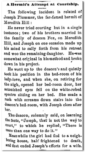 A Hermit's Attempt at Courtship, Washington Reporter newspaper article 19 February 1873