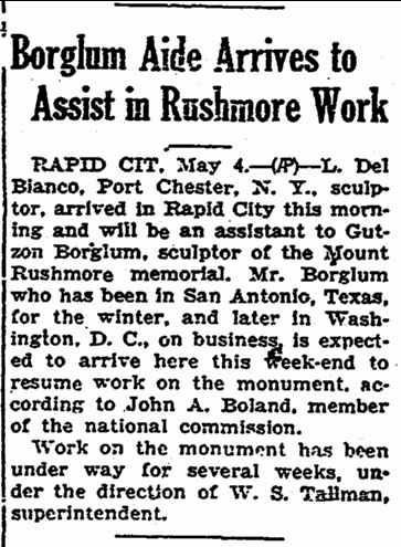 Borglum Aide Arrives to Assist in Rushmore Work, Aberdeen Daily News newspaper article 4 May 1933