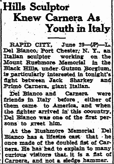Hills Sculptor Knew Carnera as Youth in Italy, Aberdeen Daily News newspaper article 29 June 1933