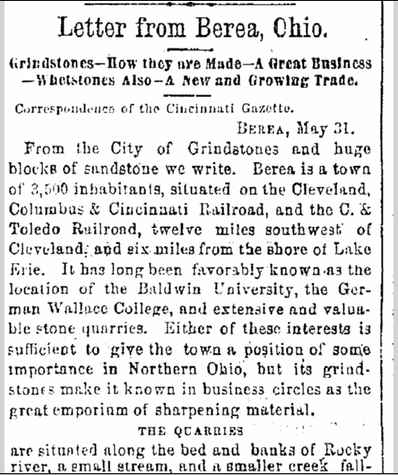 Letter from Berea, Ohio, Cincinnati Daily Gazette newspaper article 2 June 1869