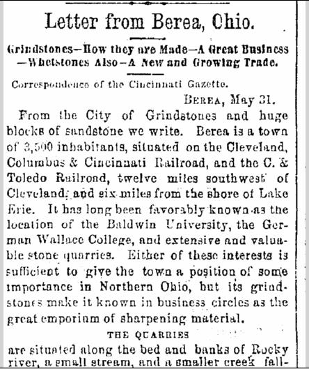 Letter from Berea, Ohio, Cincinnati Daily Gazette newspaper article 2 June 1869