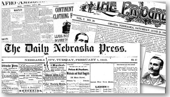 collage of Nebraska newspapers available in GenealogyBank's online newspaper archives