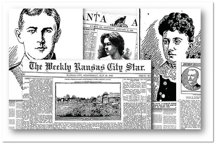 collage of newspapers showing various illustrations