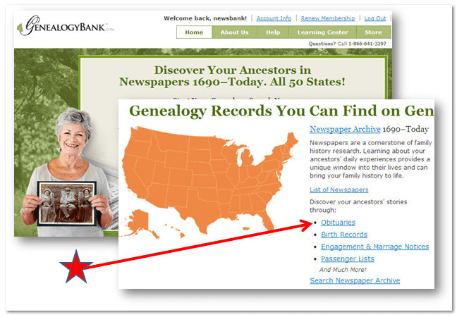 screenshot of GenealogyBank home page showing link to obituaries search form