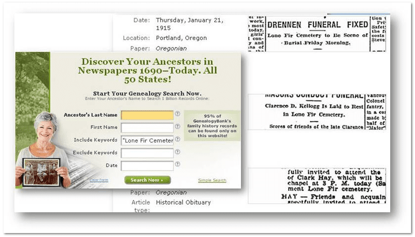 """GenealogyBank search for """"Lone Fir Cemetery"""""""
