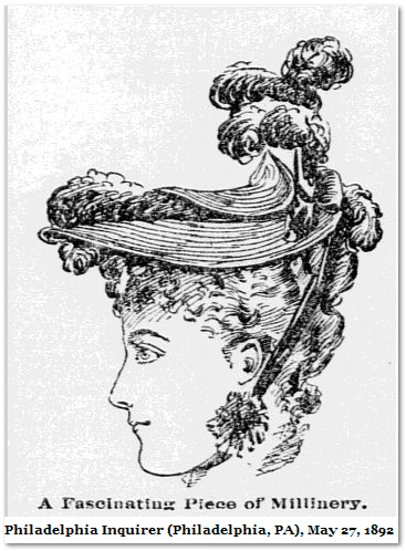 illustration of lady's hat, Philadelphia Inquirer newspaper 27 May 1892