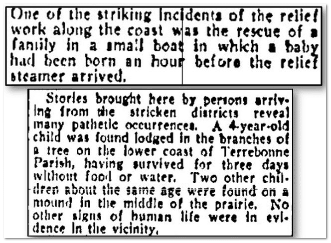"rescues during the ""Grand Isle"" hurricane of 1909, Kansas City Star newspaper article 24 September 1909"