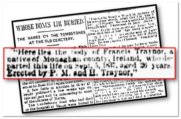 cemetery inscriptions, Macon Telegram newspaper article 25 February 1891