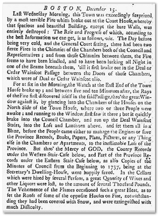 newspaper article about a fire at the Boston Court House, New-York Gazette or Weekly Post-Boy 04 January 1748