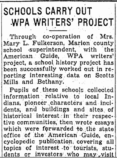 Schools Carry Out WPA Writers' Project, Oregonian newspaper article 3 May 1936