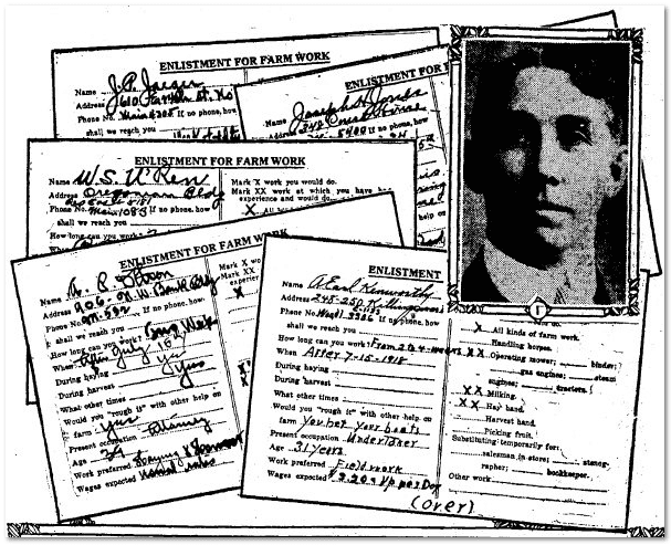 illustration of farm work enlistment cards, Oregonian newspaper article 14 July 1918