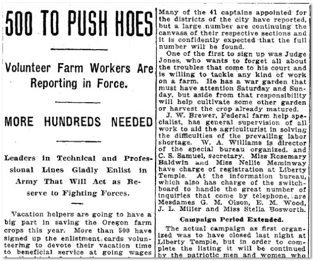500 to Push Hoes, Oregonian newspaper article 14 July 1918