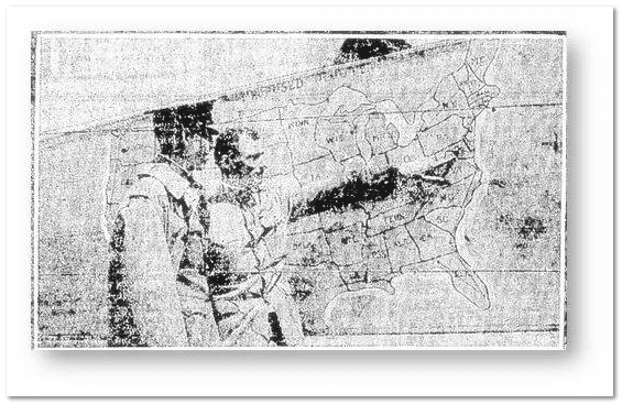 illustration of men pointing to a map showing Washington, D.C., Patriot newspaper 29 July 1919