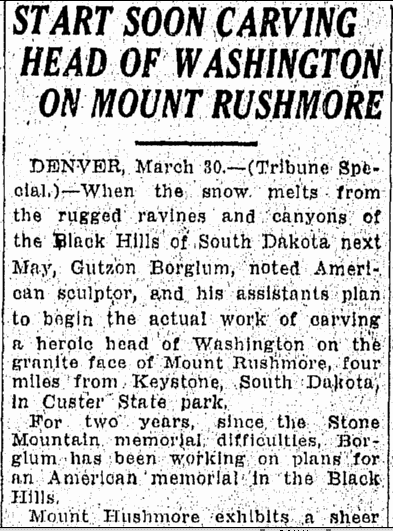 Start Soon Carving Head of Washington on Mount Rushmore, Tampa Tribune newspaper article 31 March 1927