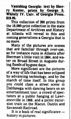 Vanishing Georgia, Augusta Chronicle newspaper article 16 December 1982