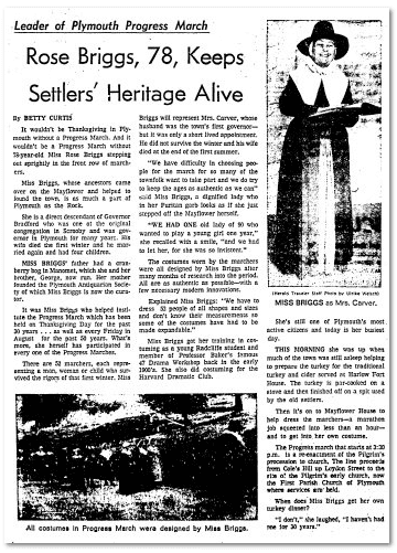 Rose Briggs, 78, Keeps Settlers' Heritage Alive, Boston Herald newspaper article 25 November 1971