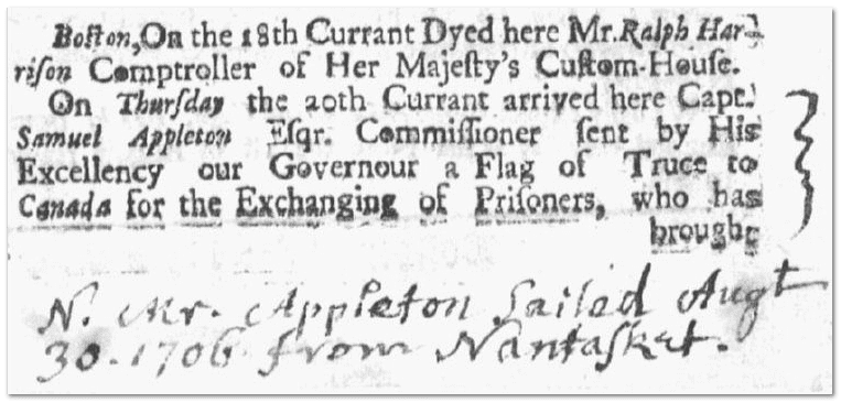 handwritten entry to a ship's list, Boston News-Letter newspapr article 25 November 1706