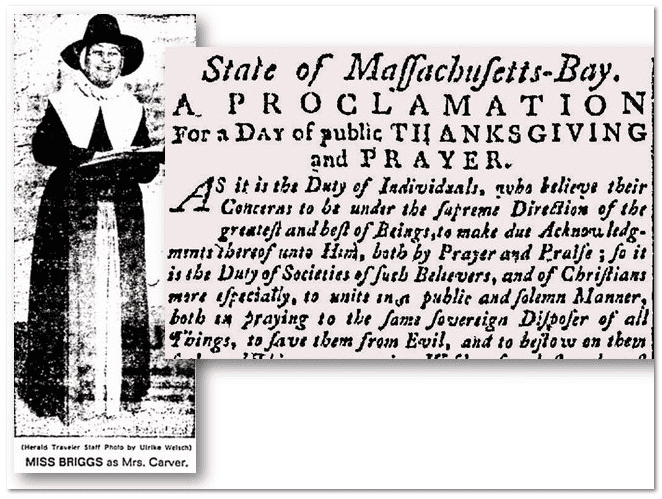 collage of a newspaper photograph of Rose Briggs and an article about a 1776 Thanksgiving proclamation